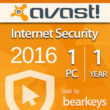 Avast Internet Security 2016 [1 PC] [1 YEAR] Download - License Key