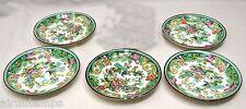 5 SOUCOUPES Robert H. GROVE PORCELAINE ANGLAISE décor floral paon Staffordshire