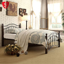 Metal Bed Frame Twin Size Headboard Bedroom Furniture Contemporary Footboard