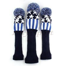 Blue Woolen Yarn Pom Golf Cover Headcover For Callaway Mizuno Driver FW 1 3 5