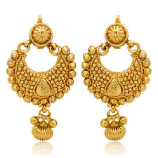Traditional Ethnic Gold Plated Ethnic Golden Diya Earrings ER30025G