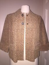 Women's Petite PL L•Live A Little•Suede Leather Jacket Leopard Motif- NWT $69.00