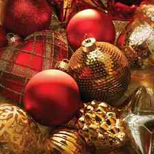Christmas 20 Paper Lunch Napkins X-MASS BAUBLES Red Gold Luxury Winter