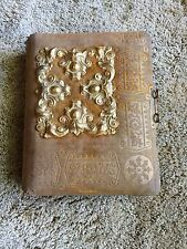 Antique Victorian Photo Album - Cloth Cover with Brass Decoration & Metal Clasp