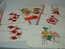7 VINTAGE LINEN KITCHEN DISH TOWELS with APPLIQUE & HAND EMBROIDERY CUTE LOT!