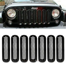7PCS Black New ABS Chrome Trim Front Grill Insert Covers Kit For Jeep Wrangler e