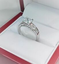 1.00 ct Princess cut solitaire engagement ring Silver Hallmarked 925. size M  #3