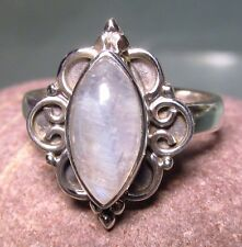 Sterling silver everyday rainbow moonstone ring UK M½-¾/US 6.75. UK Seller