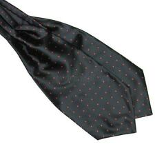 Men's Dots Hot Silk Scarves/Cravat Ascot Neck Ties Handkerchief Black+Red Dots