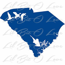 South Carolina State Silhouette with Ducks Hunter Vinyl Decal Sticker Hunting