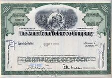 American Tobacco Company Stock Certificate Fortune Brands New Jersey Green