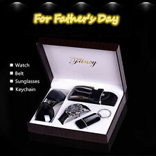 4x Men's Business Gift Watch & Sunglasses & Belt &Keychain Gift Set Father's Day