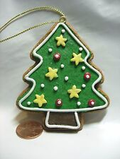 CHRISTMAS TREE ORNAMENT GREEN RED YELLOW SUGAR COOKIE LOOK PINE HOLIDAY DECOR