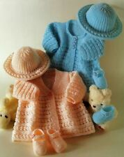 Knitting Pattern Baby Matinee Coats Shoes and Brimmed Hat Beautiful Smart  DK