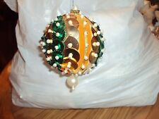 Vintage Handmade Sequin Pearl Beaded Gold Green Color Ball Christmas Ornament