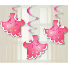 BABY SHOWER Clothesline Pink HANGING DECORATIONS (3) ~ Party Supplies Foil Girl
