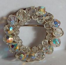 VINTAGE FACETED AB GLASS ROUND CIRCLE BROOCH PIN