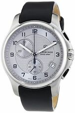Victorinox Swiss Army Mens 241553 Leather Officers Chronograph Silver Date Watch
