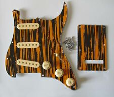 Tawny Stripe Strat ST Pickguard Back Plate w/ Cream Pickup Covers Knobs Tip