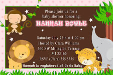 30 Jungle Invitations Baby Girl Shower or Birthday Party Invites Pink Brown