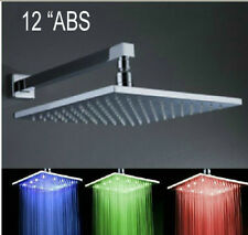 """Wall Mounted 12"""" LED Color Changing Bathroom Shower Head With Shower Arm Chrome"""