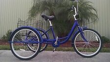 "6 Speed Adult Tricycle Brand New 24"" Blue 3 Wheel Trike Big Seat High Quality!"