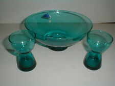 Morgantown Glass Teal Console Bowl & 2 Barton Candle Holders Mid Century Modern