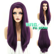 """24"""" Heat Resistant Long Straight Dark Purple Lace Front Wig"""