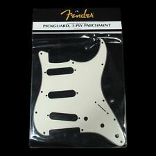 NEW Genuine Fender Stratocaster Strat Pickguard Parchment SSS +Guitar Methods