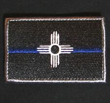 NEW MEXICO STATE FLAG POLICE MORALE THIN BLUE LINE VELCRO® BRAND BADGE PATCH