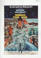 "2002 Vintage JAMES BOND ""MOONRAKER STRENG GEHEIM"" GERMAN MINI POSTER ART Litho"