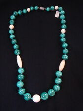 COLLIER DE PERLES EN MALACHITE VINTAGE 70 NEUF 57 CM/ NECKLACE OLD NEW VINTAGE