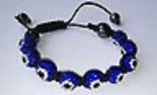 Azul oscuro Mal De Ojo De Macramé Shamballa Pulsera - 9 Disco Beads-Checa crystal-uk