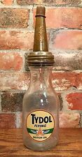 "Tydol Flying ""A"" 1 Qt. Glass Motor Oil Bottle with Master Mfg. Co. Spout & Cap"