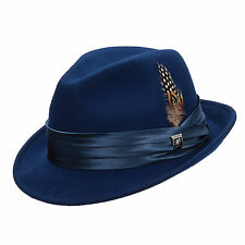 STACY ADAMS * ROYAL BLUE WOOL FEDORA HAT M L XL * MENS CRUSHABLE LINED GODFATHER