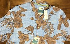 $118 TOMMY BAHAMA MENS S/S Bob Marlin HAWAIIAN 100% SILK CAMP SHIRT Sz LARGE