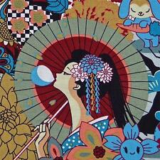 Kawaii Japanese Cotton Fabric Lovely Geisha & Anime by Transpacific