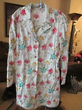PRETTY JOHNNY WAS WHITE MULTI COLOR EMBROIDERED FLOWER LONG JACKET M LQQK!