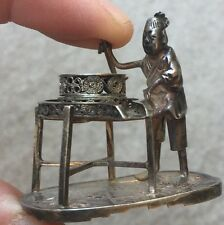 Antique Chinese Sterling Silver Miniature Statue Figurine
