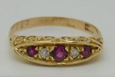 Beautiful Edwardian 18ct Gold Ruby and Diamond 5 Stone Ring