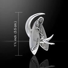 Guardian Fairy Crescent Moon .925 Sterling Silver Pendant Peter Stone