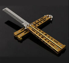 New Gold Stunning Practice Training Stainless Steel Butterfly Knife Outdoor Comb