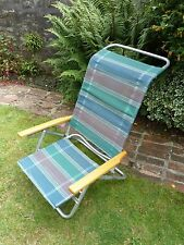 Vintage Retro French Fishing, Camping, Beach Reclining Stripey Low Deckchair