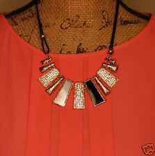 Urban Trend Holiday Party Trend Geometric Black & Gold Crystal Bars Bib Necklace