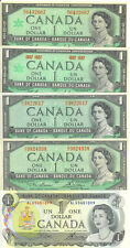 Bank of Canada 1954 1967 1973 $1 One Dollar Lot of 5 Notes All Different EF
