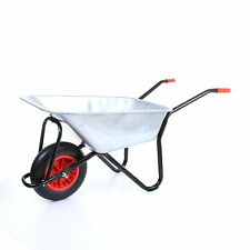 HEAVY DUTY GALVANISED WHEELBARROW 100L METAL WITH PUNCTURE PROOF SOLID TYRE