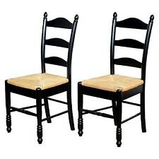 Ladder Back Dining Chairs Wood/Black (Set of 2) - TMS