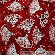 BonEful FABRIC FQ Cotton Quilt Red Pink White Asian FAN Oriental Flower Chinese