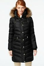 NEW MICHAEL KORS $350 BLACK HOODED FAUX FUR TRIM DOWN PUFFER COAT SZ XS