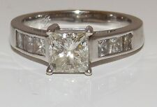 18CT WHITE GOLD 1.5CT PRINCESS CUT DIAMOND SINGLE STONE  ENGAGEMENT RING